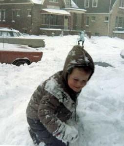 Laura Jim Kevin shoveling1969