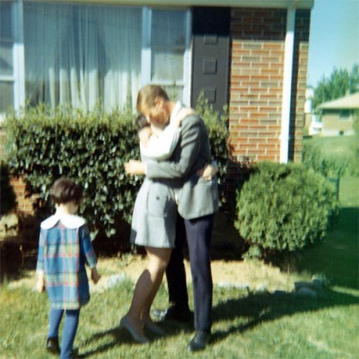 My dad traveled so much, that this sports jacket and subsequent embrace from my mom was a normal sight to me growing up.