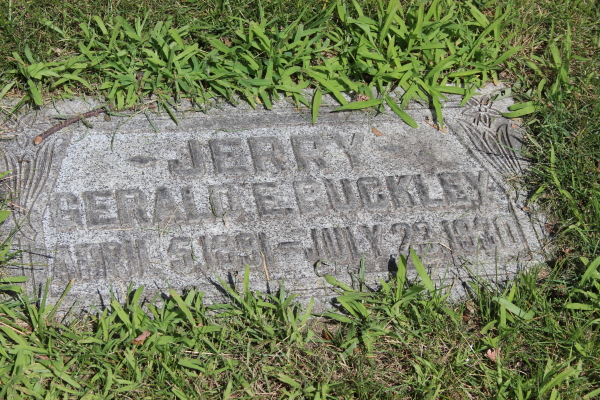 The grave of Jerry Buckley, obscure now, but his death was front-page in the New York Times in 1930.