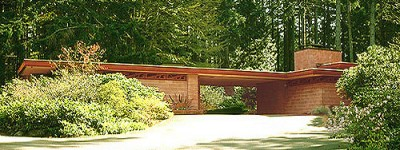 Wright's Brandes Residence near Seattle, Washington.  (Find the entrance, win a prize!) -- photograph by Douglas Steiner, 2000