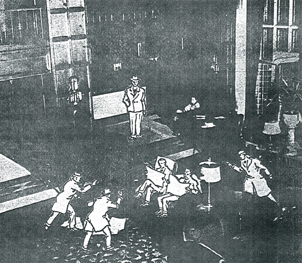 Artist's rendering of Buckley's assassination in the lobby of the LaSalle.