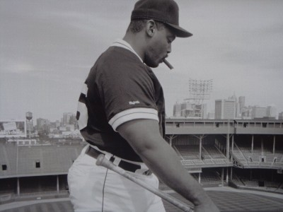 Cecil on the roof of Tiger Stadium where one of his bombs landed.