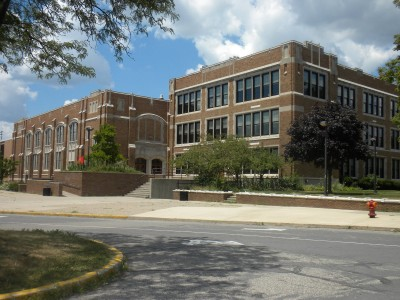 "Watch for exteriors in ""Deadheads"" of thegang's alma mater (formerly Dondero High School, now Royal Oak Middle School)"