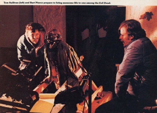 "Drew and Brett's dad, Bart Pierce, on the set of ""Evil Dead"""
