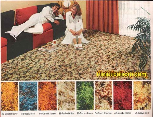 Hard to decide what's more startling, the carpeting or the jumpsuits.