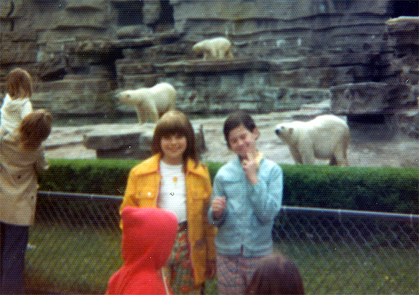 1975, In the days before ursine diabetes was recognized, my sister Katie (right) marshmallow-tossing to polar bears...