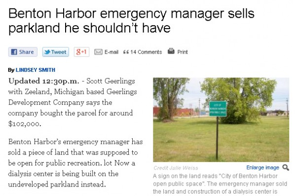 Benton Harbor selling off public land to private companies--without permission.