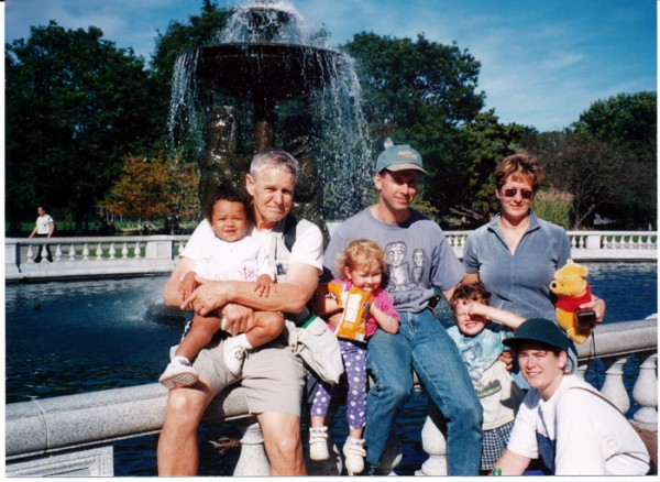2000 My Uncle Larry once again, holding his granddaughter Zoe beside my family and sister Colleen.