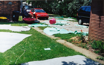 Suntanned sewage damage.