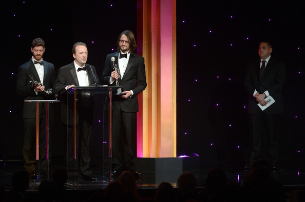 "Doug accepts the ACE Eddie award for editing ""Twenty Feet from Stardom"" with his team, February 7, 2014."