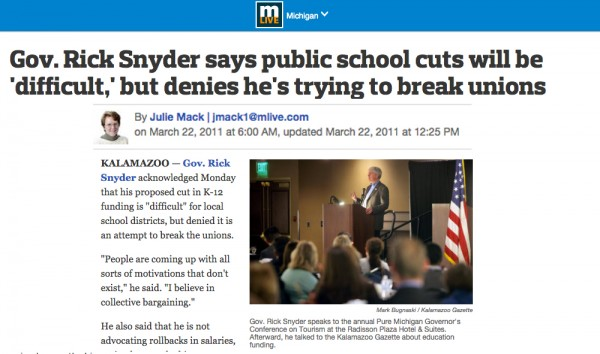 A 2011 article, prior to his Right to Work flip-flop, in which the governor admits cuts to education--counter to his ads.