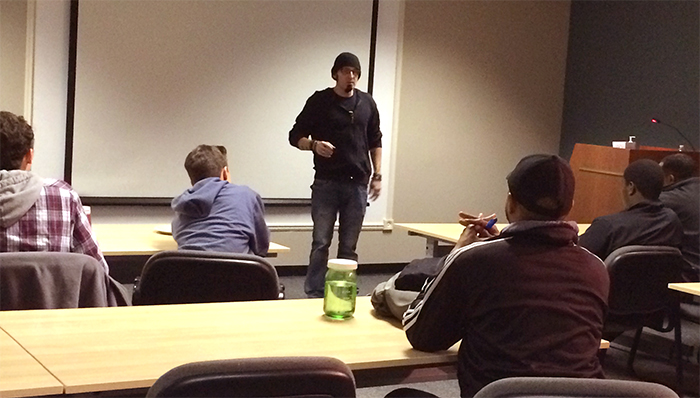 Ric Viers presents to Detroit-area young filmmakers as part of a Digital Arts Film and Television workshop at the Motion Picture Institute in Troy, Michigan in November 2014.