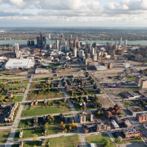 Brush Park to Downtown Detroit, MI. © 2015 Alex S. MacLean/New York Times