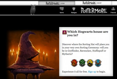 The Sorting Hat game at Pottermore.com