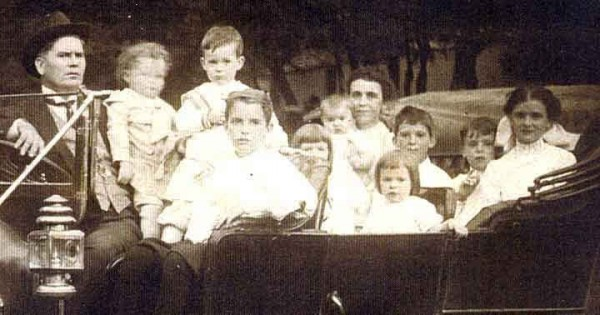 The upside of being Irish-Catholic for my great grandfather Henry--no car seats required in 1910.