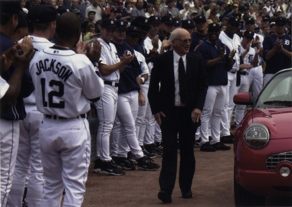 Ernie Harwell Day at Comerica Park (Photo courtesy of the Burton Historical Collection of the Detroit Public Library)