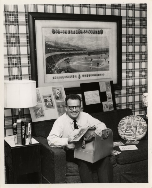 Harwell as a 1950s Baltimore broadcaster, with his collection growing too big already.  (Photo courtesy of the Burton Historical Collection of the Detroit Public Library)