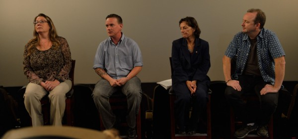 "Det. Shona Collins of the Oakland University Police; Kole Wyckhuys of HAVEN; Beth Combs, psychology chair of University of Phoenix, Detroit Campus and Doug Blush, editor/assoc. producer of ""The Hunting Ground.""  (photo by Darrett Pullins)"