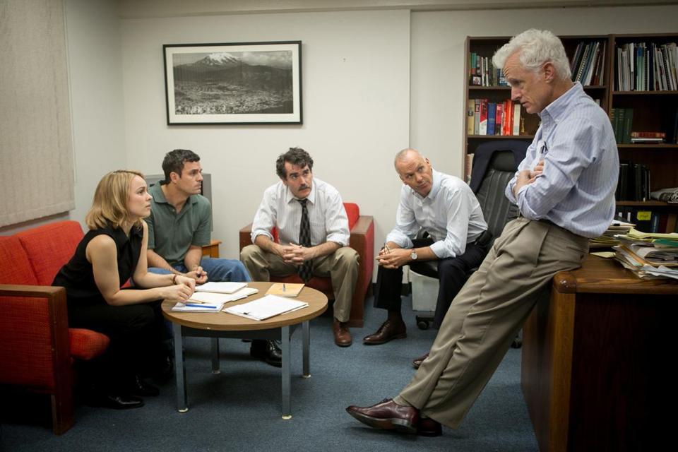 "Rachel McAdams, Mark Ruffalo, Brian d'Arcy James, Michael Keaton and John Slattery of ""Spotlight"""