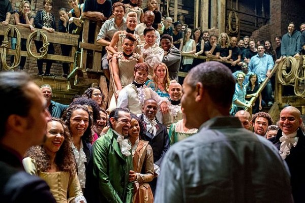 "President Obama meets the cast of ""Hamilton"" in 2015"