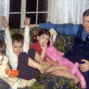 Dad, home from Ford, with Colleen, Kevin and Katie (Detroit, 1970)