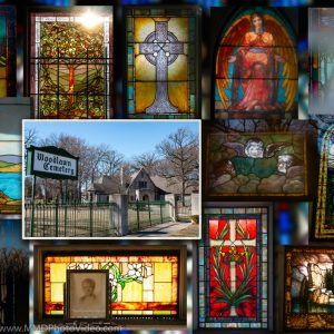 """Peeping Tomb"" – Sunlight & Stained Glass in Detroit's Historic Woodlawn Cemetery"